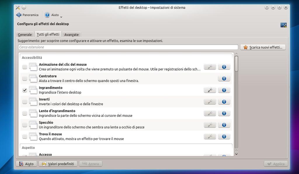 Kubuntu 14.04 - Gestore Effetti