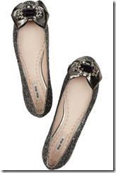 MiuMiu swarovski crystal glitter-finish ballerina flats £400