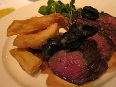 Under blade fillet with persillade snails, salad, triple cooked chips and béarnaise