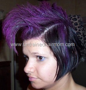 purple faux hawk halloween hair