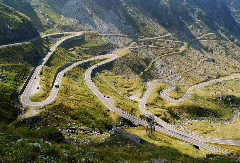 The bendy Transfăgărășan highway in Romania.