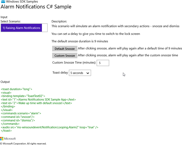 Figure 2 - Alarm Notifications C# Sample app main window