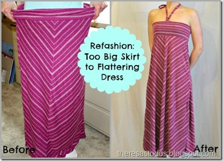Refashioning a Big Skirt to Flattering Dress