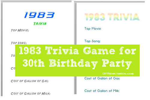 1983 Trivia Game for 30th Birthday Party - DIYNewlyweds
