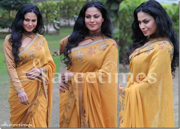 Veena_Malik_Mustard_Saree