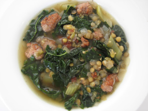 The picture that started it all... Sausage, lentil and kale soup