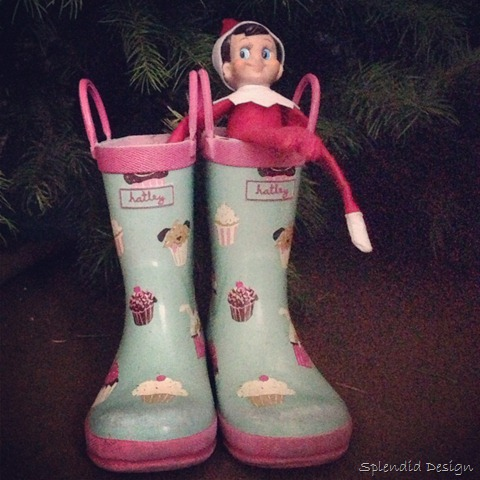 Elf on the Shelf in rain boots