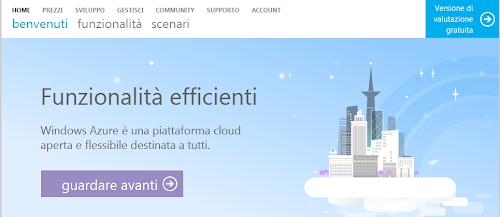 Windows Azure - la home page