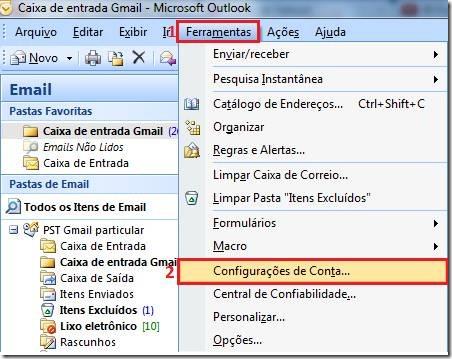 como configurar meu email no outlook 2007