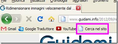 Bookmarklet Cerca nel sito aggiunto nella barra dei segnalibri
