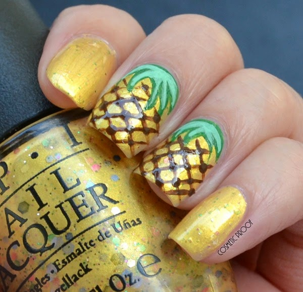 OPI - Pineapples Have Peelings Too! Swatch Review Pineapple Nail Art (4)