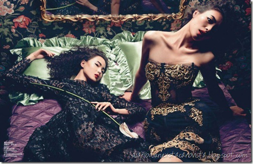 Xiao Wen and Liu Wen photographed by Inez and Vinoodh for Vogue China, September 2012