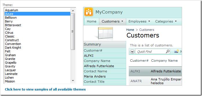 Selecting the 'Azure' theme.