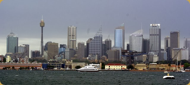 IFR - Tall Ships entering Sydney Harbour - Sydney skyline