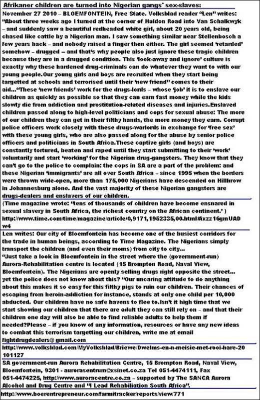 AfrikaansKidsAreTurnedIntoSexSlavesByNigerianGangsBloemfontein