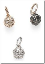Berloques de esferas, de ouro rosé 18K com diamantes cognac, Ouro Nobre 18K com diamantes negros e ouro branco 18K com diamantes brancos