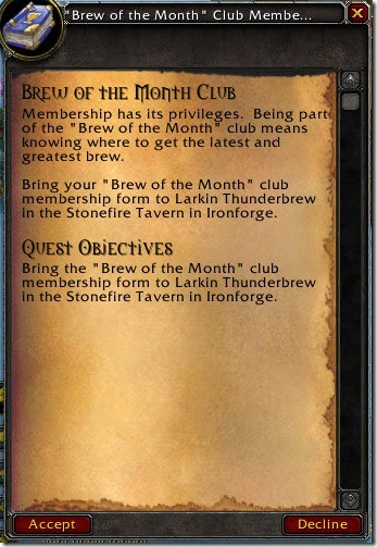 Brew of the Month Club Membership Quest