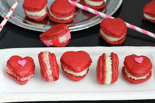 Red Velvet  Heart Shaped Valentine Macarons with Cream Cheese Filling