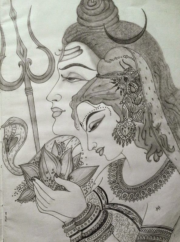 Pencil sketch of ardhanaareeshwara