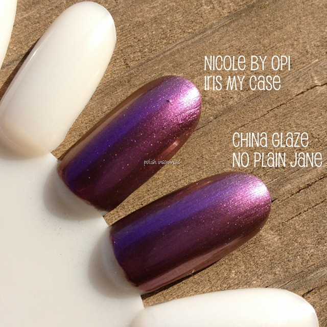 Nicole by OPI Iris My Case vs. China Glaze No Plain Jane (2)