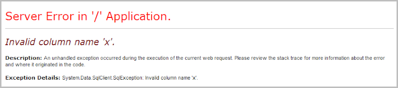 Invalid column name 'x'