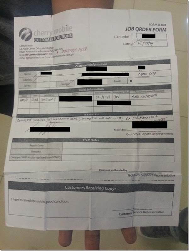 Cherry Mobile customer solutions job order form