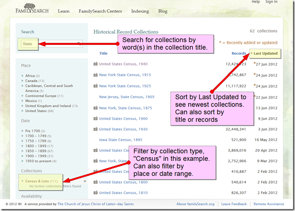 Features of the FamilySearch Collection List Page