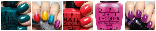 OPI Amazon...Amazoff, OPI Beach Sandies, OPI Live. Love. Carinval. OPI Hotter Than You Pink, OPI Don't Violet Me Down