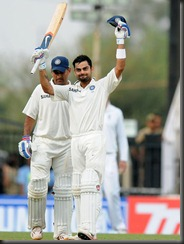 Virat Kohli _celebrates after scoring his third century