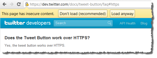 Twitter returning mixed content and causing a browser warning