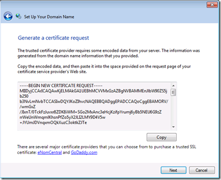 Generate a certificate request