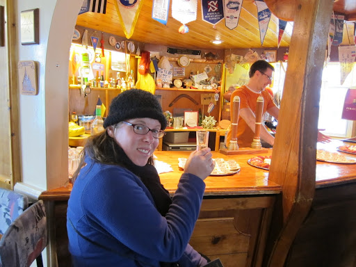 Enjoying a shot of vodka at Faraday Bar in Vernadsky Research Station.