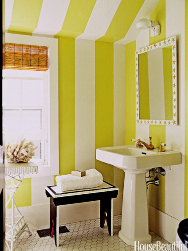 striped bathroom via house beautiful