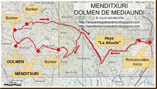Mapa Menditxuri - Dolmen de Mediaundi