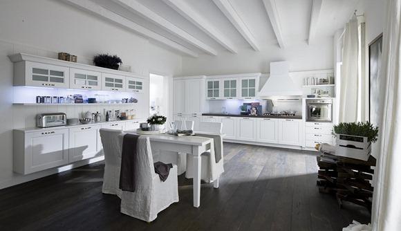 cocina en madera blanca