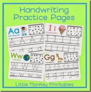 preschool handwriting practice pages