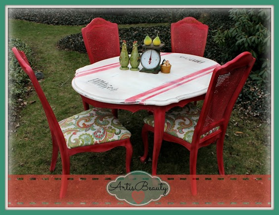 stenciled red white dining table
