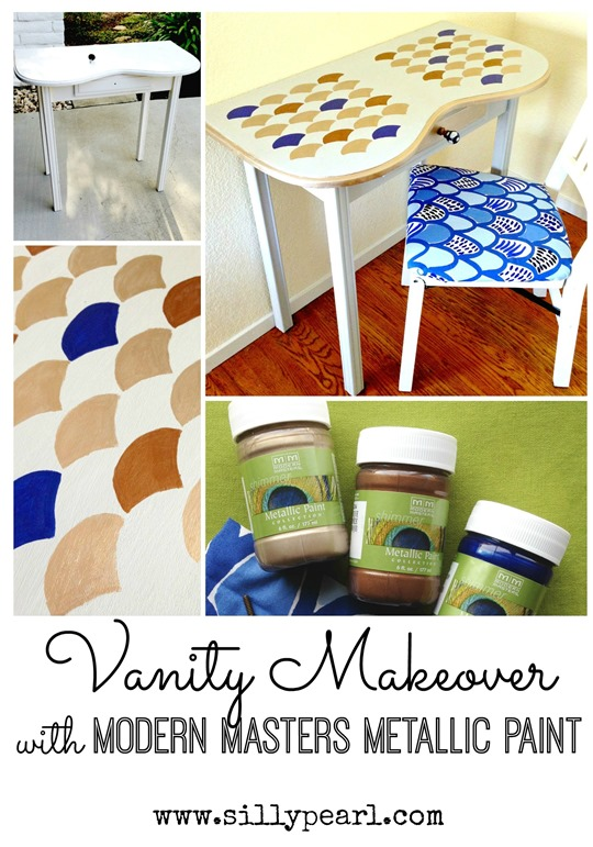 Vantiy Makeover with Modern Masters Metallic Paints - The Silly Pearl