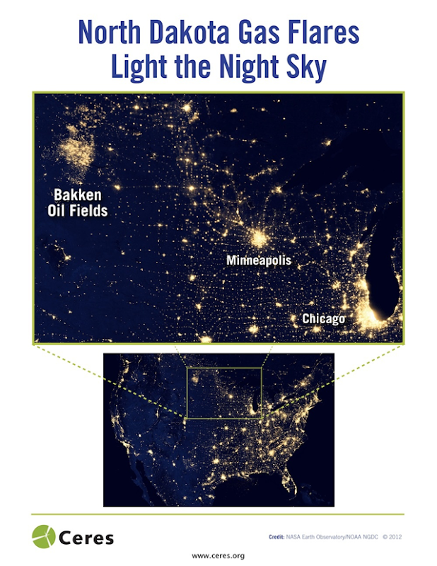 Nighttime satellite view of North Dakota gas flares. In North Dakota's Bakken shale region, widespread flaring across millions of acres lights up the night sky, burning off enough energy each day to heat half a million homes. Flaring is also prevalent in other key shale regions, like Texas's Eagle Ford. Excessive flaring of natural gas affects regional air quality and creates significant greenhouse gas emissions that investors are seeking to reduce. NASA Earth Observatory / NOAA NCDC via Ceres.org