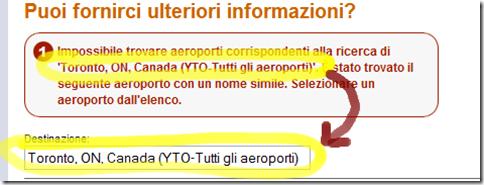 Impossibile trovare aeroporti... ma il nome è identico