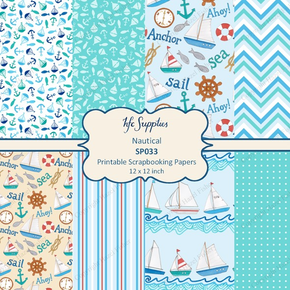 SP033 Nautical etsy 1 printable scrapbooking papers boats
