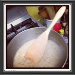 This MH Follower starts the day off right by using her spurtle to make an oatmeal breakfast.