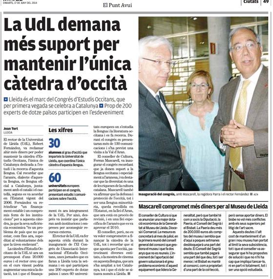 article sobre l'occitan e l'universitat de Lhèida