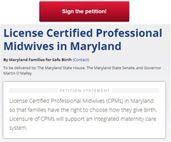 Petition to License Certified Professional Midwives in Maryland