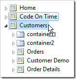Drag Code On Time page node onto Customers page node.