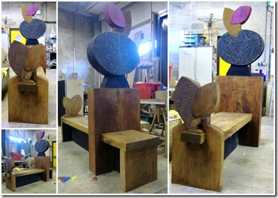 1-Bench together and stained