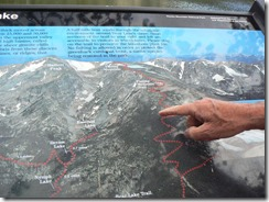 Map of the trail on a sign at Bear Lake