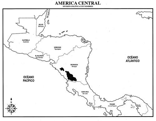 Mapa de América Central con división política con nombres