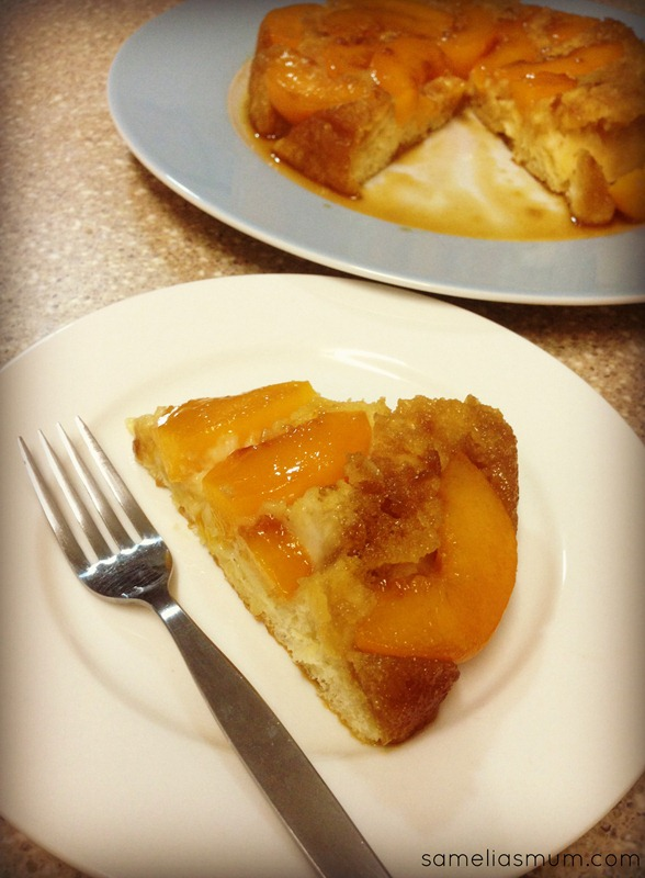 Peach and Almond Upside Down Cake - slice