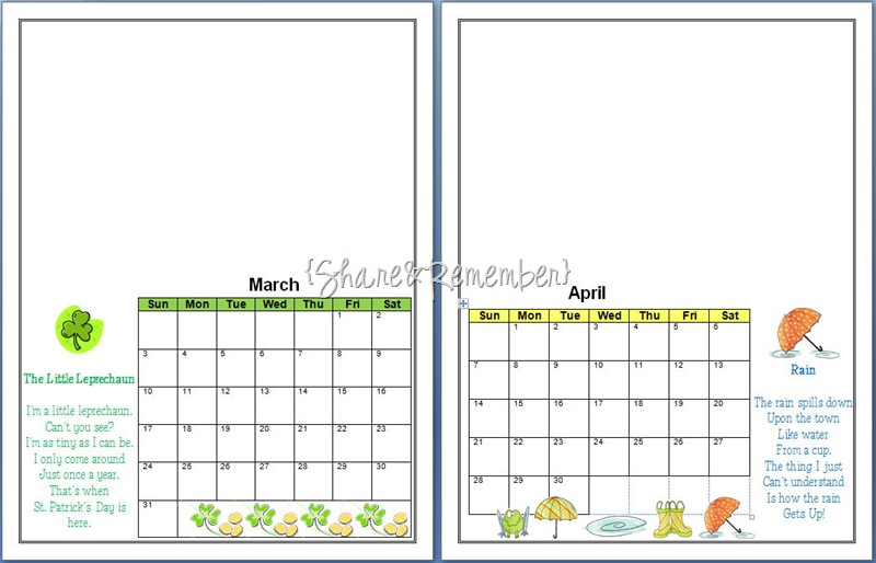 Handprint Calendar Template
